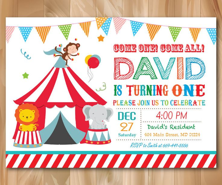 Circus Birthday Invitation. Circus Birthday Party Invite. 1st First Birthday ang ages. Boy or Girl Kids Bday. Custom Photo. Printable Digial by PrettyPartyDesign on Etsy https://www.etsy.com/listing/238109877/circus-birthday-invitation-circus