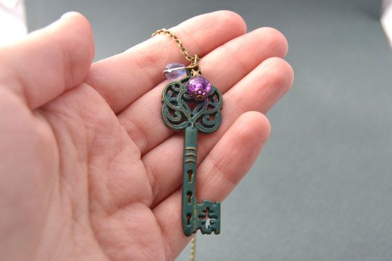 Verdigris / teal patina key necklace with purple and violet blue glass beads by Valkyrie´s Song