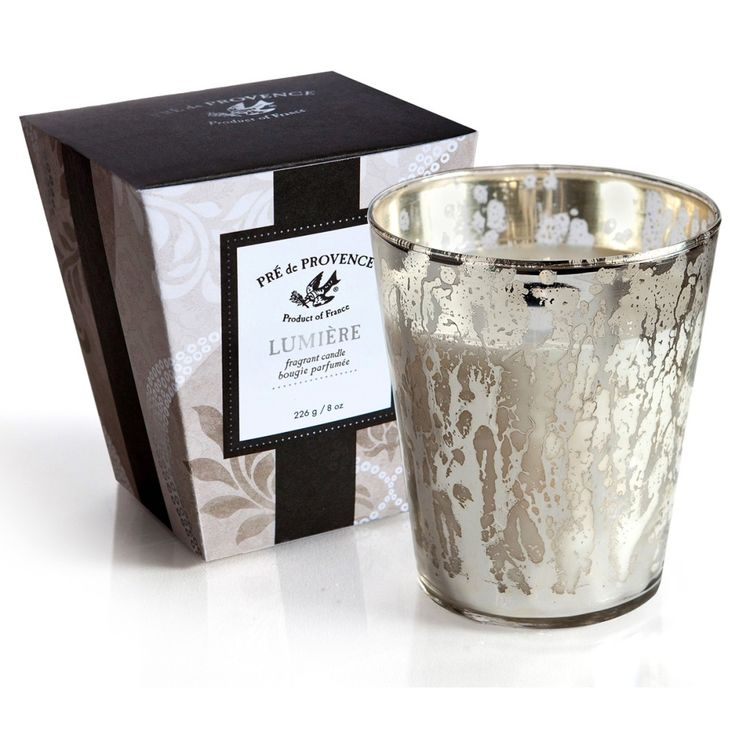 Lumiere Fragrant Candle by Pre de Provence $20 Soy blend wax candle in vintage mercury glass jar. Burns 45 hours. Select fragrance. Gardenia or Lavender.