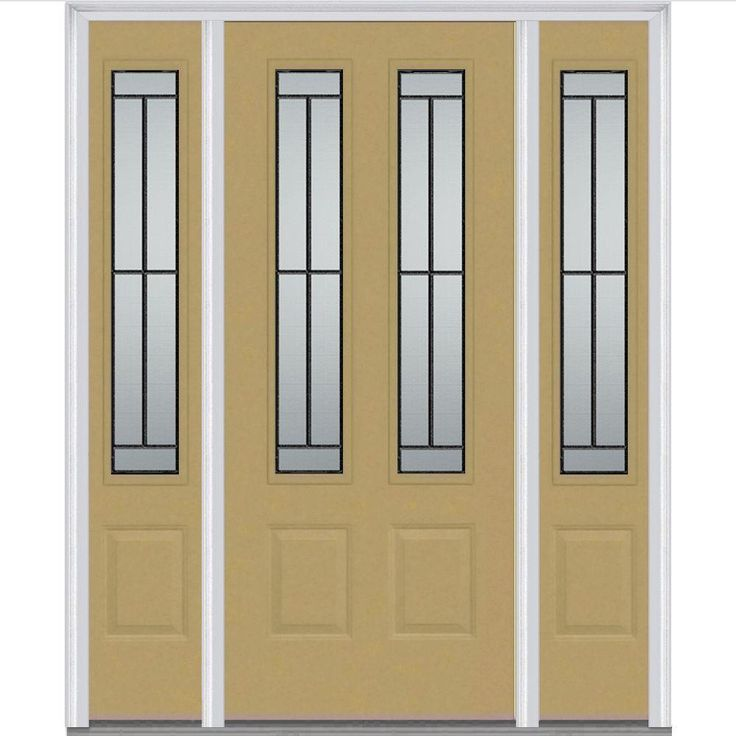 Improve your home's curb appeal and energy efficiency with this gorgeous fiberglass door. It comes in white, brown, dark green and sandal.