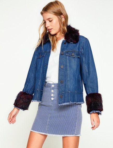 79c72e1451cc0 İndigo bir jean ceket modeli mi arıyorsunuz? Koton''un indigo bayan suni  kürk