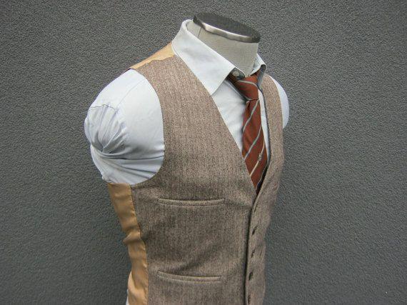 1960s Herringbone Suit Vest / Brown Wool Waistcoat by BudeVintage