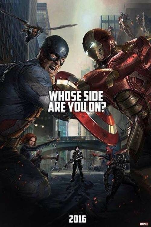 "''Whose side are you on?'' Well - they're both right, and they're both wrong (very wrong) - and they're both being misled by outside forces. So how about I'm on both their sides, till they stop fighting and wake up? ""Captain America : Civil War"" < good plan, random citizen!"