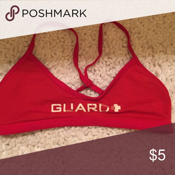 """Lifeguard Top Words are coming off but you can still read """"Guard."""" Great as an additional top for a Lifeguard job. Swim Bikinis"""