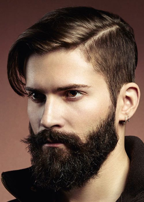 Excellent side part hairstyle and beard combination
