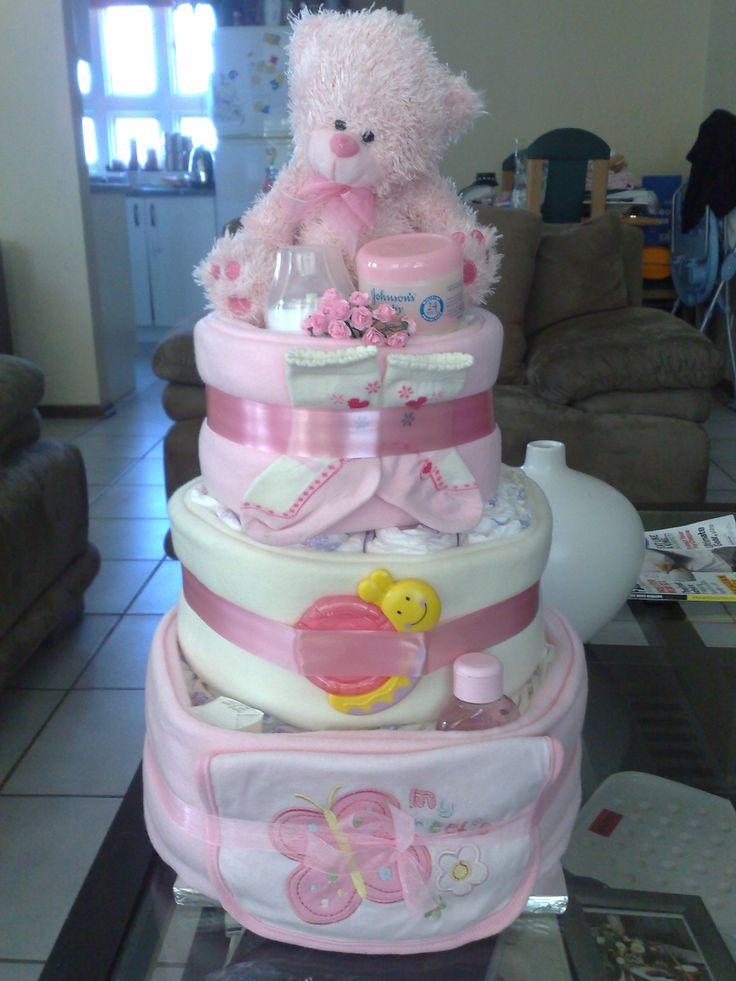 3-Tier pink and white nappy cake www.designernappycakes.weebly.com