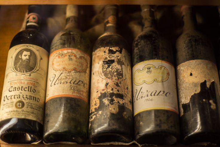 Old Wine Bottles From The Castello Di Verrazzano Winery