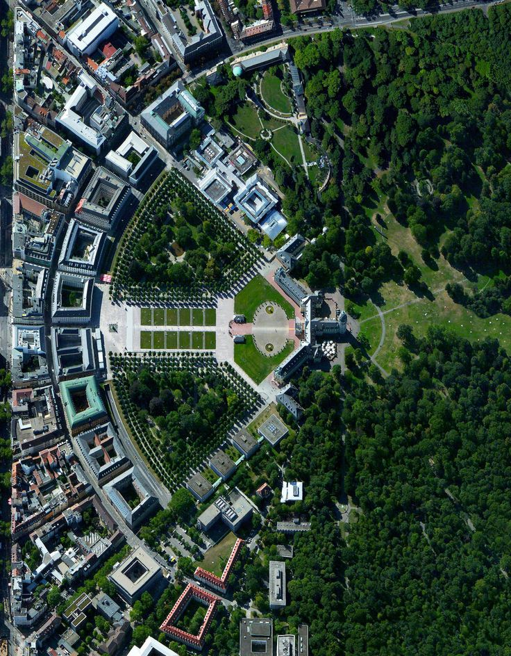 "Karlsruhe, Germany was planned with a palace tower at its center, surrounded by 32 radiating streets. Because the design resembled the ribs of a folding fan, the city is sometimes called the ""fan city"" or ""Fächerstadt."" Additionally, this city's urban plan gave rise to the geometry concept of ""Karlsruhe Metric"" which refers to a measure of distance that assumes travel is only possible along radial streets and along circular avenues around the center."