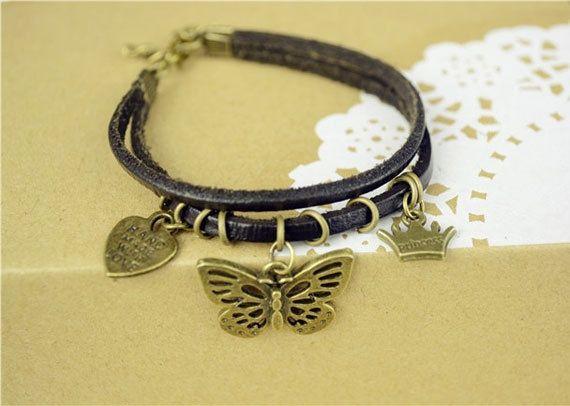 Butterfly Bracelet-Leather-Brass charm-elegant design from Picsity.com