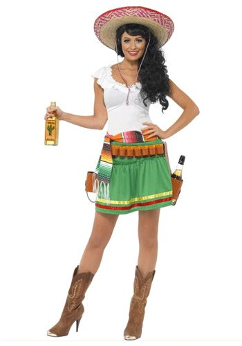 Tequila kostuum voor dames. Tequila verkleed kostuum voor dames dat bestaat uit het jurkje, de riem en de holsters. Exclusief sombrero, flessen en laarzen. Carnavalskleding 2015 #carnaval