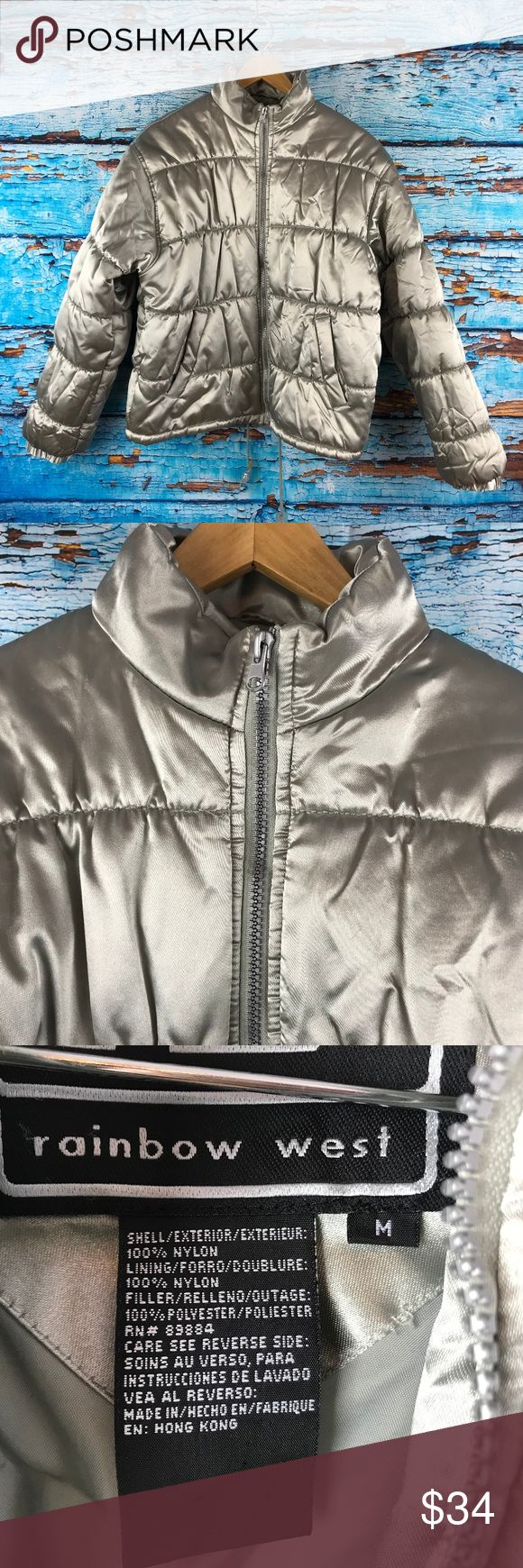 Rainbow West Silver Zip Up Puffer Jacket Excellent pre-owned with no stains, tears, or flaws       Measurements:                           Pit to Pit (in inches): 20  Length (in inches): 24 Rainbow West Jackets & Coats Puffers