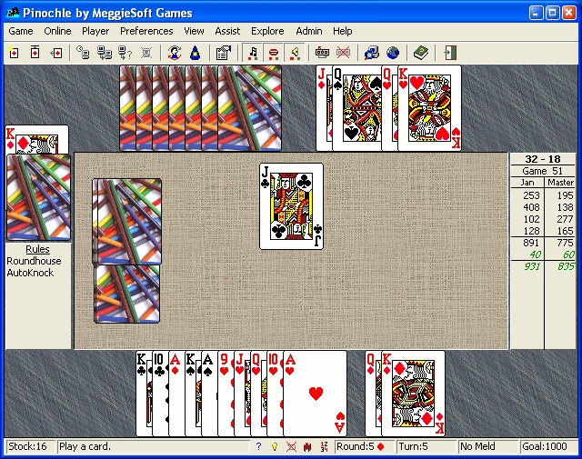 MeggieSoft Games Pinochle and Bezique is a comprehensive