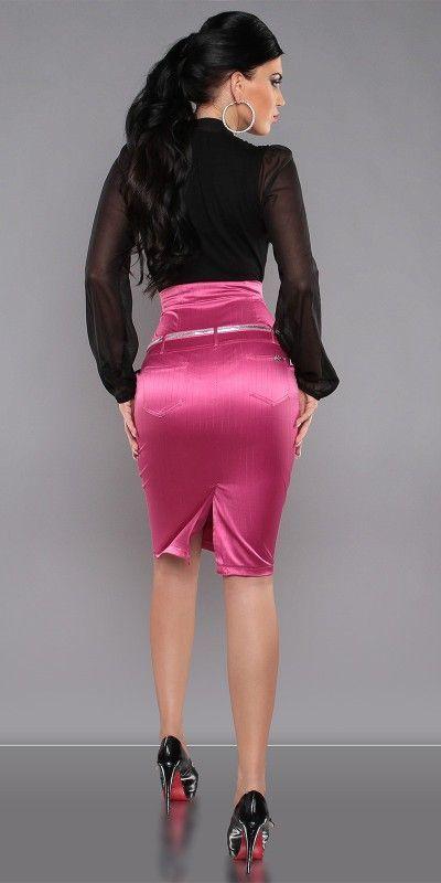 Pink Satin Pencil Skirt Black Blouse and Black High Heels | SATIN ...