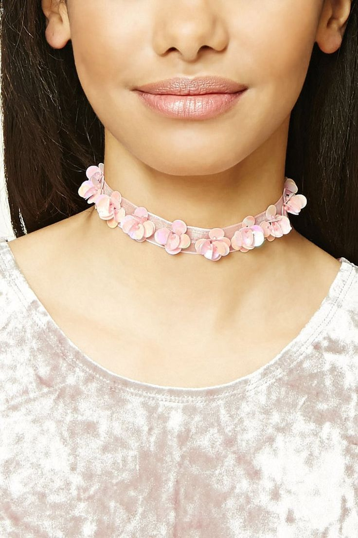 Sequined Floral Choker