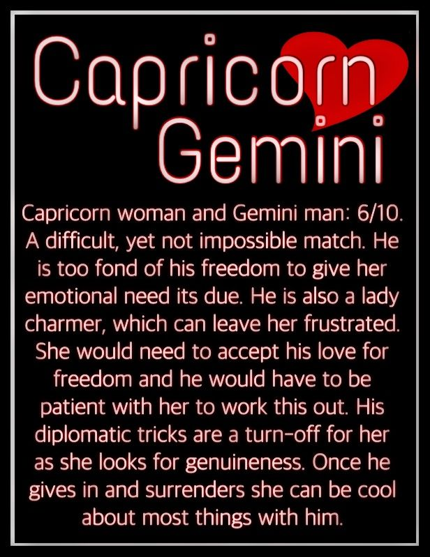 Capricorn man gemini woman love
