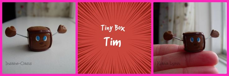 Polymer clay Tiny Box Tim, who should be well known by Markiplier fans!
