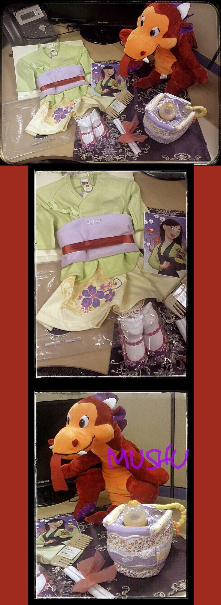 Mulan with Mushu - baby shower - Mulan:   - Enfant green long sleeves tie-side top   - Bebe yellow baby dress   - Enfant violet cloth burp pad   - red ribbon   - baby socks in white & floral pink/purple doll shoes design - other items: - red dragon stuffed toy (Mushu) - purple oriental embroidery design throw pillow case - message in scroll form - Body Shop wooden comb - diaper teapot:   - yellow feeding bottle   - newborn disposable diapers   - rattle   - floral washi tapes