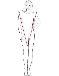 Het V-lijn figuur kenmerkt zich door de bredere schouders dan heupen. Dit atletische type heeft vaak mooie lange, slanke benen en oogt wat grover aan de bovenkant. Het doel is evenwicht te brengen door de onderkant optisch iets te verbreden.