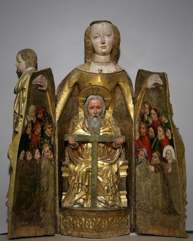 Madonna szafkowa z Norymbergii - ok. 1390  Grudziądz/Gdańsk - Schreinmadonna  Westpreußen, um 1390  Material/Technik: Lindenholz, farbig gefasst und vergoldet  Inventar-Nr.: Pl.O. 2397