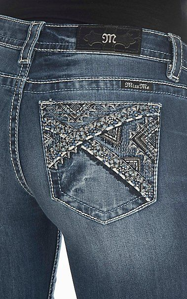 Miss Me Women's Medium Wash with Triangle Embroidery Open Pocket Boot Cut Jeans | Cavender's