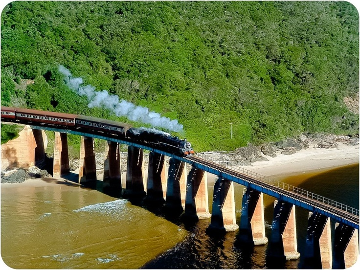 The Outeniqua Choo Tjoe. The railway was completed in 1928, and links the towns of George and Knysna