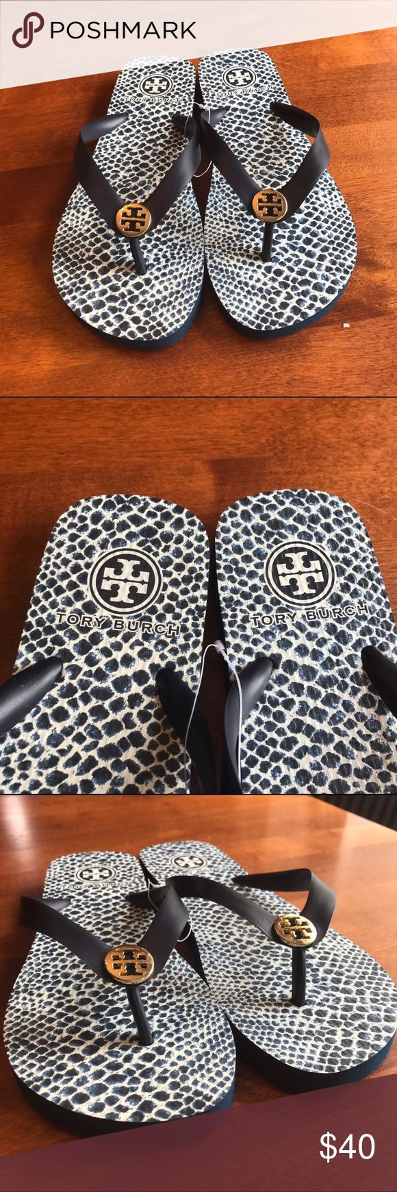 NWT TORY BURCH FLIP FLOPS! Tory Burch flip flop sandals! Never worn! Got them for Christmas but they don't fit me 😭! Size 7! Great flip flops color is blue and white with the Tory Burch logo in gold! Tory Burch Shoes Sandals