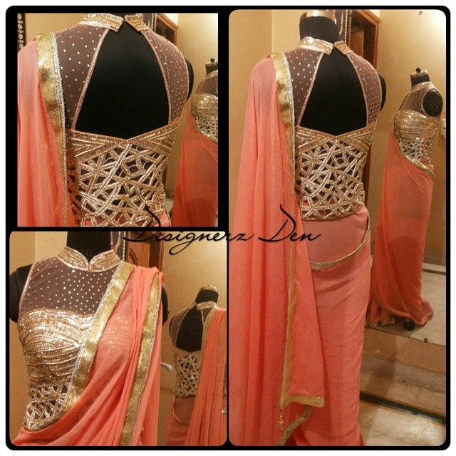 Luxury personified!!! This delicately feminine saree in coral shade is dyed to perfection teamed with this closed halter neck blouse embellished with cutwork in stones and cutdana is beautifully paired for a subtle yet effective look. Earlier I designed this in a salmon shade which I still love and this coral shade is equally beautiful! Love Love Love!!! To purchase this ensemble or to order yours in your color shade and measurements email us at