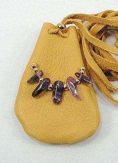 Amethyst Crystal Medicine Bag, Apache