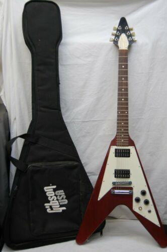 f861b8dd56 2006 Gibson Flying V Cherry Red Electric Guitar & Gig Bag Made in USA  Pre-owned