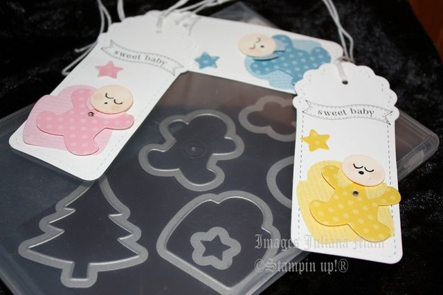 great idea using framelits from Stampin Up to make baby cards