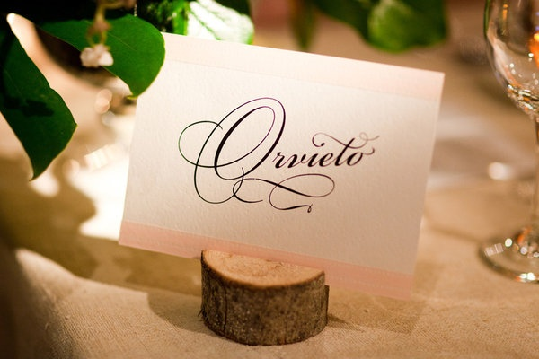 Wood table name holders