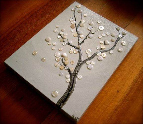 button tree!: Wall Art, Trees Art, Decor Ideas, White Buttons, Buttons Crafts, Buttons Art, Natural Crafts, Fun Projects, Buttons Trees