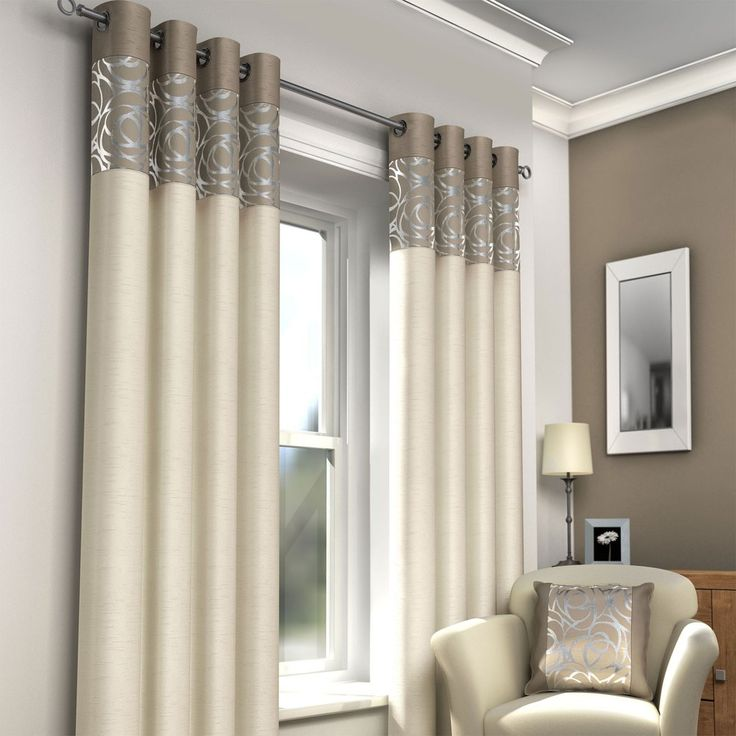 Neutral Eyelet Panel Curtains In Cream And Taupe Pasx Uk