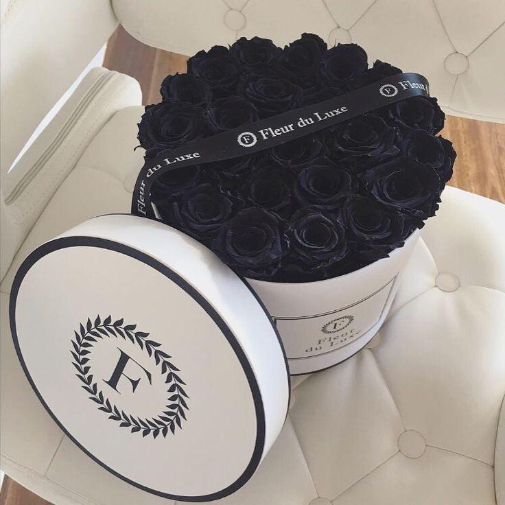 Velvet black roses Fleur du Luxe preserved roses from Ecuador in our signature hat box xxx boxed flowers