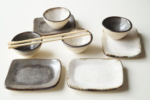 Rustic Sushi Serving Plates Set for 4 Grey Beige Sushi by bemika
