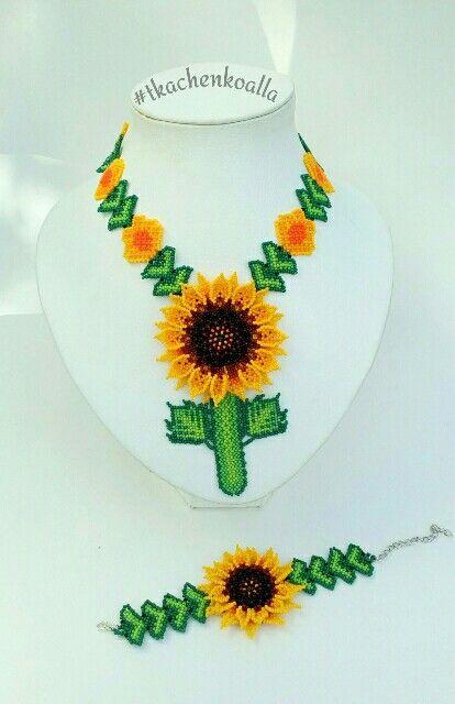 Sunflower bead set. Necklace and bracelet. Подсолнухи из чешского бисера. Украшения в технике уичоли.