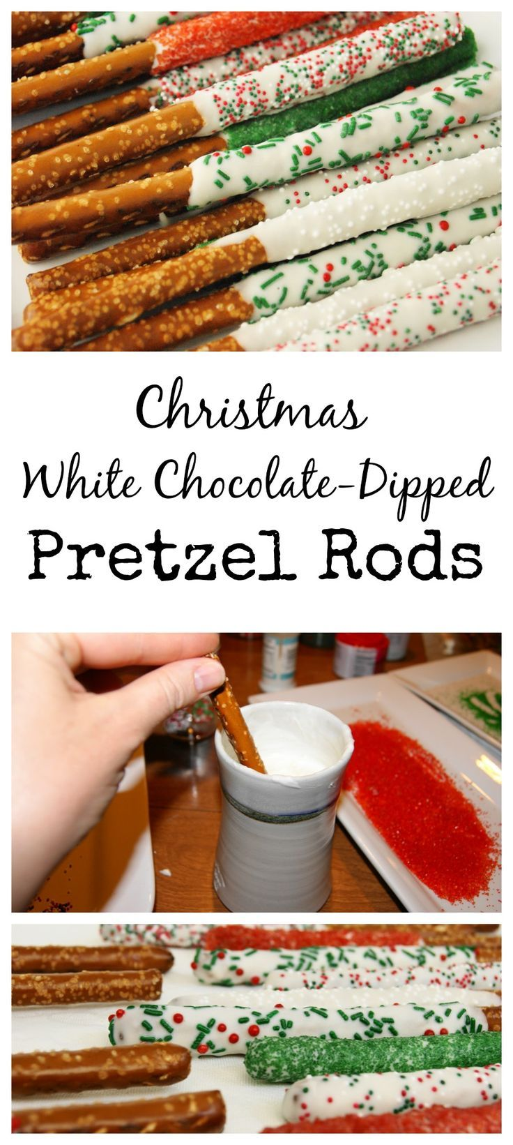 Easy Christmas White Chocolate-Dipped Pretzel Rods www.thekitchenismyplayground.com