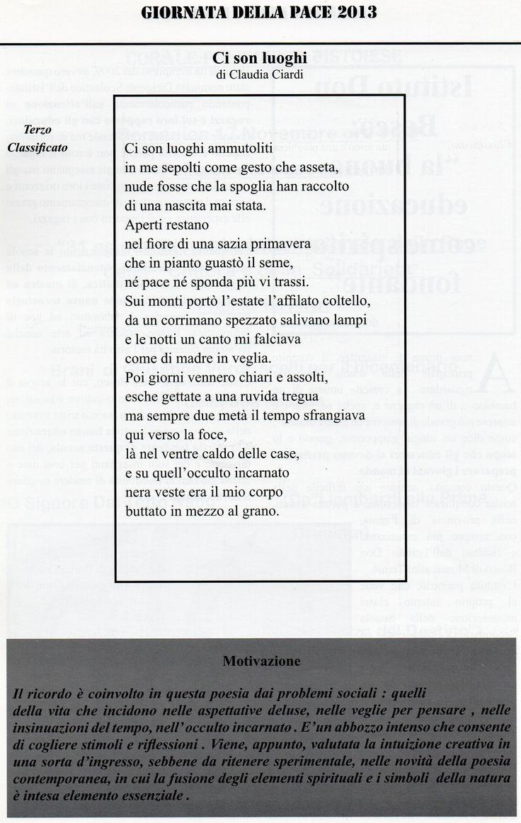 Premio La Pira, Pistoia nov. 2013. Testo e motivazioni.