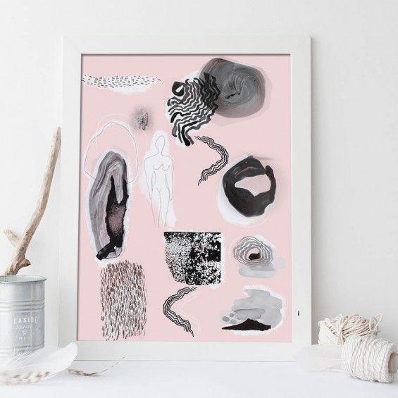 Autorska grafika Forms XVpink, różowy - Printlove - grafiki do wnętrz, ilustracje dla dzieci, plakaty. -