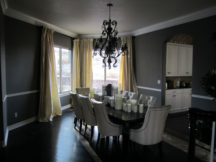 Dining Room White Leather Chair With Black Metal Chrome Chandelier