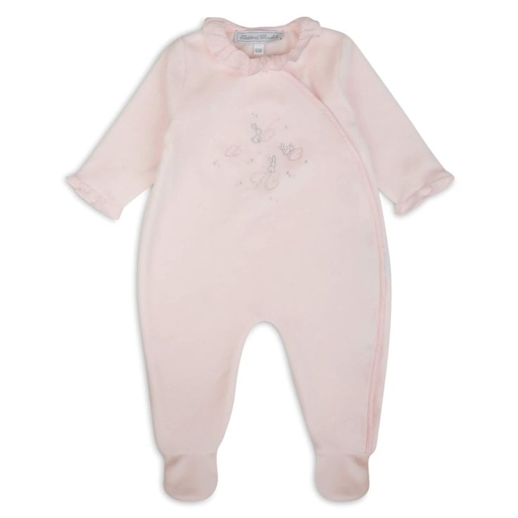 Tartine Et Chocolat Baby Girls Pink Velvet Feel Onsie with Embroidered Rabbit Design and Ruffle Collar