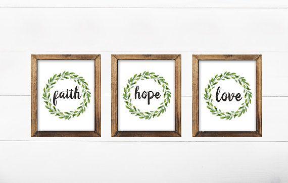 Faith Hope Love Wall Art Set Of 3 Farmhouse Bathroom Set Of 3
