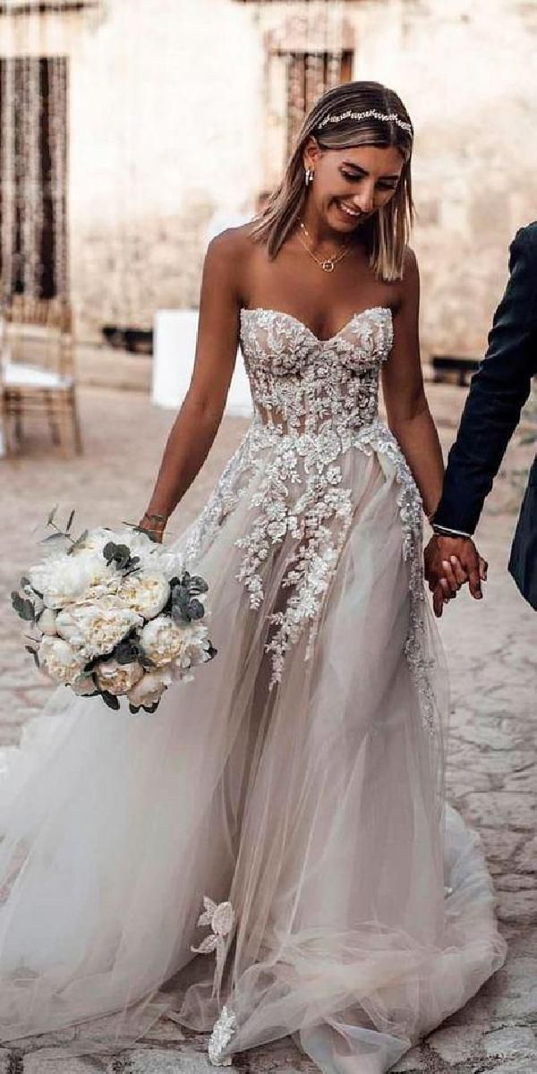 Ball Gown Tulle Light Grey Boho Wedding Dresses Sweetheart Appliques Bridal Gown…