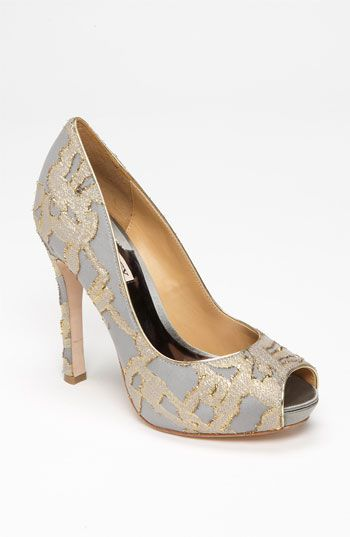 Badgley Mischka 'Roxie' Pump  -  A slim, spool heel lifts a peep-toe pump refined with gilded tapestry.  <3