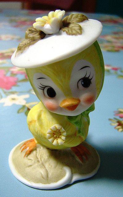 ' Easter Bonnet '  ~ vintage Lefton chick.  #easter #spring #chick #bonnet #lefton #retro #kitsch #vintage #decor #figurine