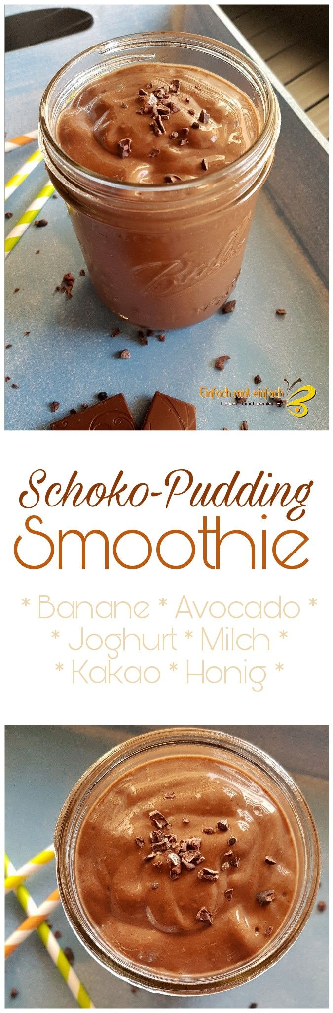 Schoko-Pudding Smoothie mit Banane und Avocado, super einfach und unglaublich lecker, voller Nährstoffe und so cremig!