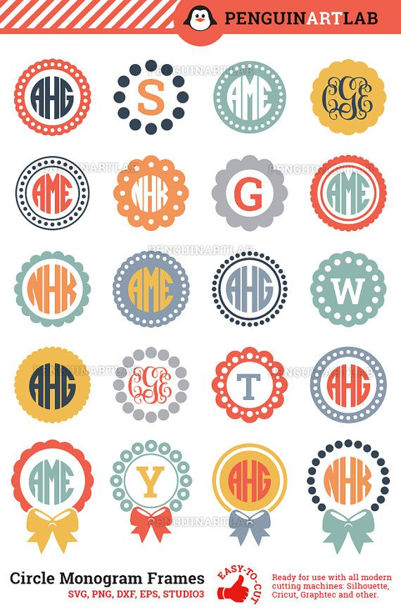 Circle Monogram Frame SVG Cut Files for by PenguinArtLab on Etsy