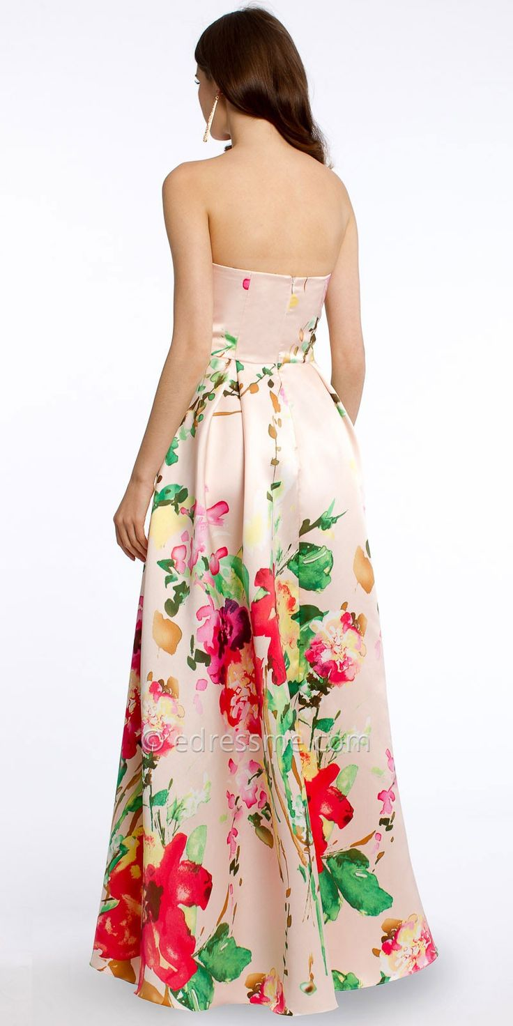 Strapless Floral Evening Dresses by Camille La Vie