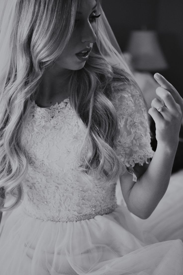 Taylor & Rachel's Sacramento Temple Wedding Bride Dress Lace