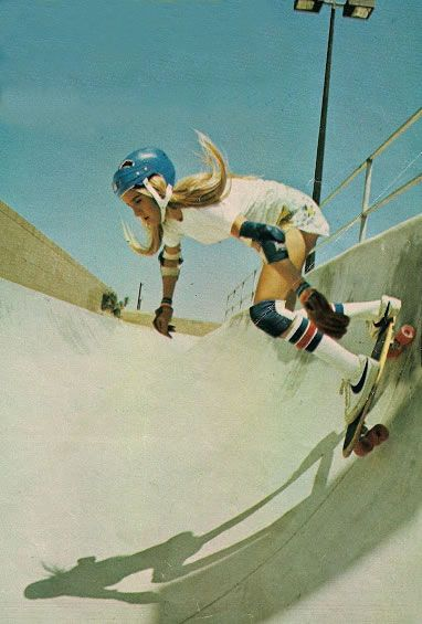 Girls skating in the 70's on ISO50 blog. Photographer unknown. http://blog.iso50.com/33539/girls-skating-in-the-70s/